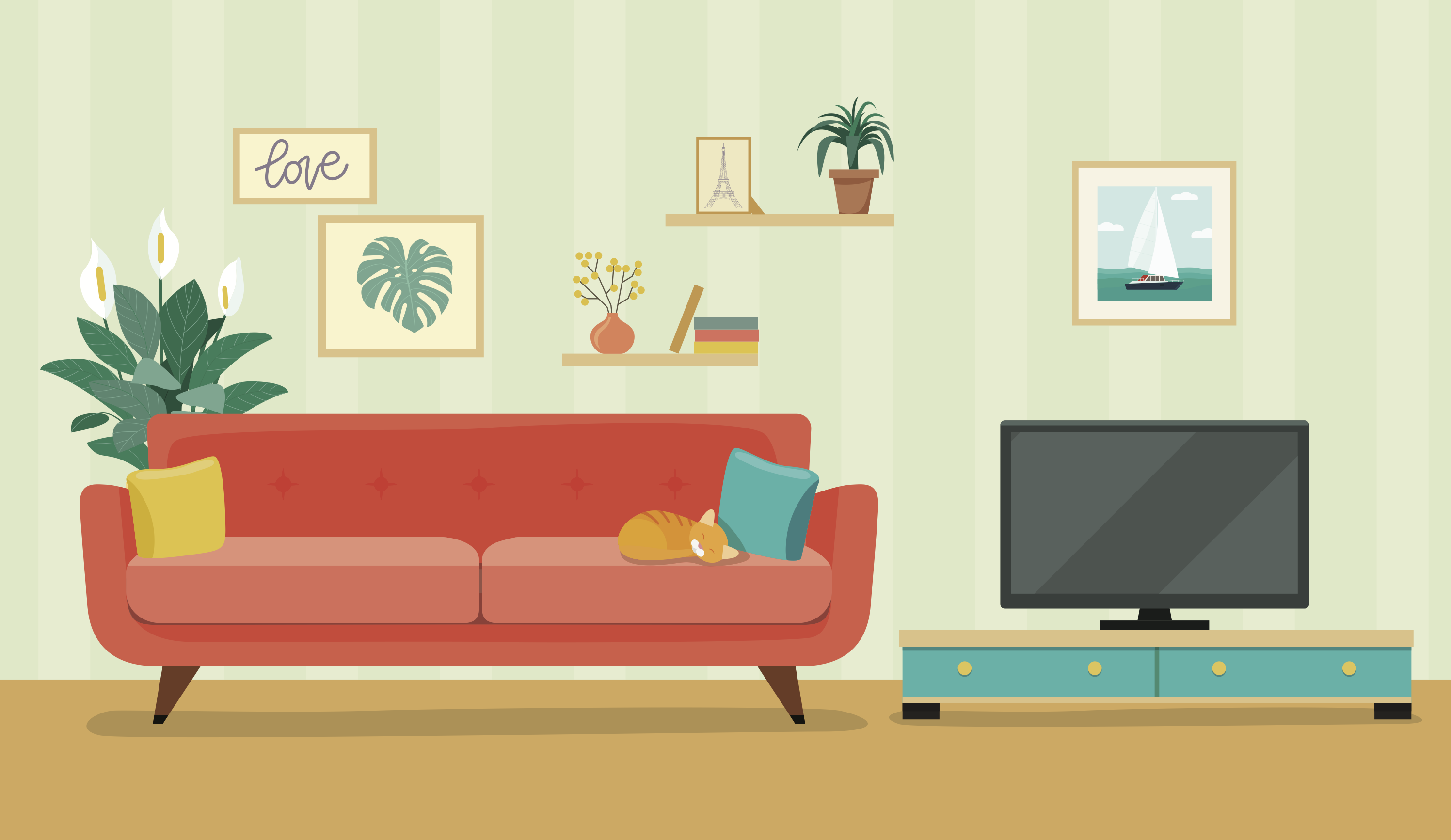 An illustration of a living room with a pink sofa, plant, decorative wall prints and a tv.