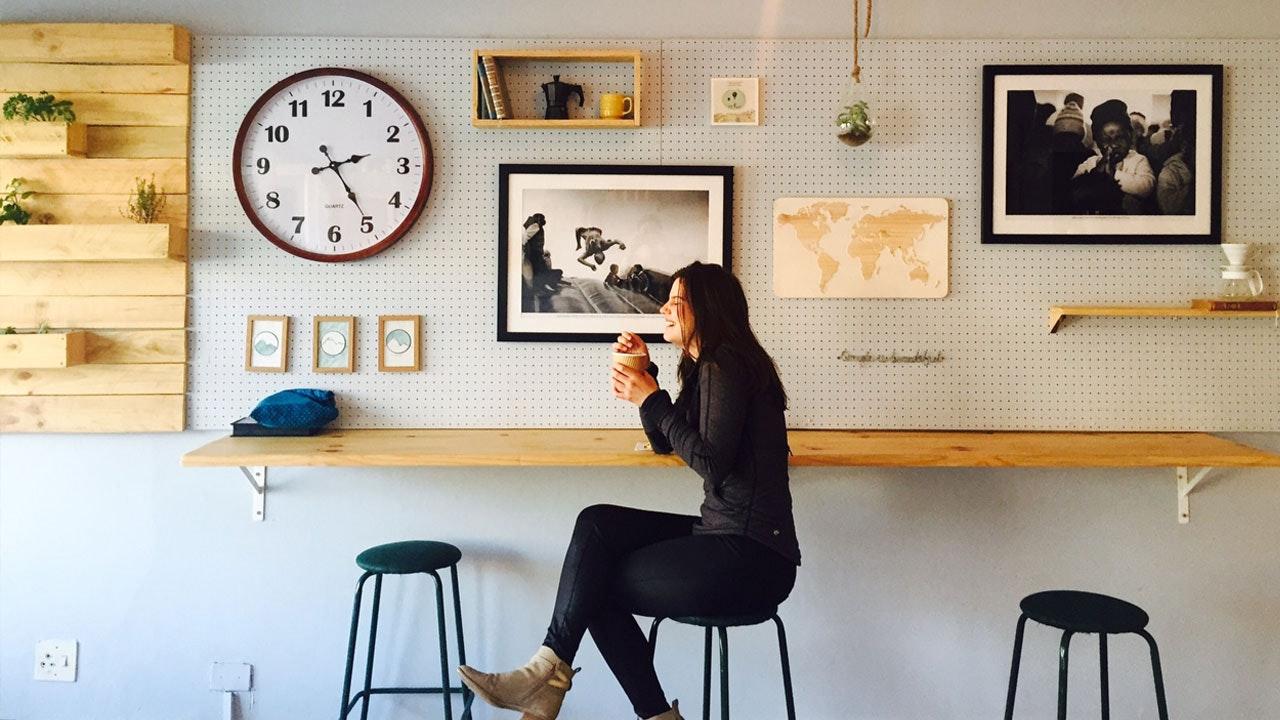 Woman enjoying her stylish modern home