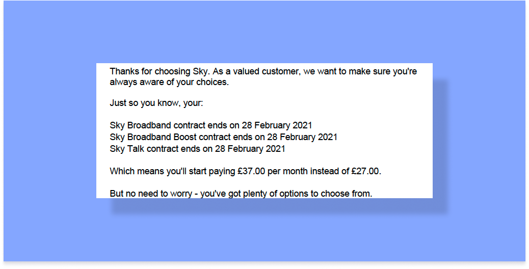 Sky price increase end of contract notification