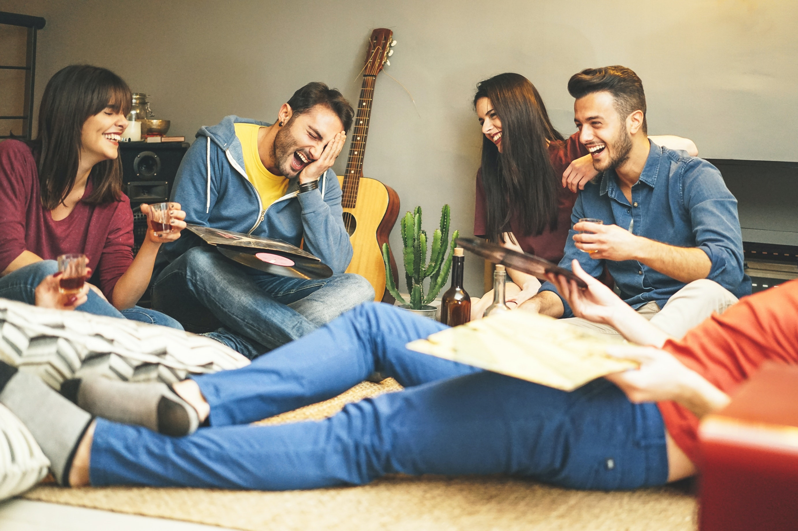 Students using broadband in a shared house