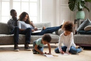 Family signing up to a new deal at the end of their current energy tariff