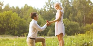 groom proposing to bride
