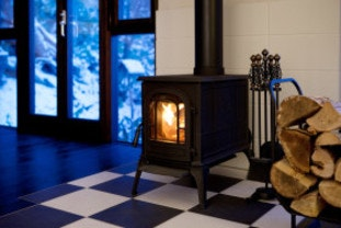 Wood burning stove in winter