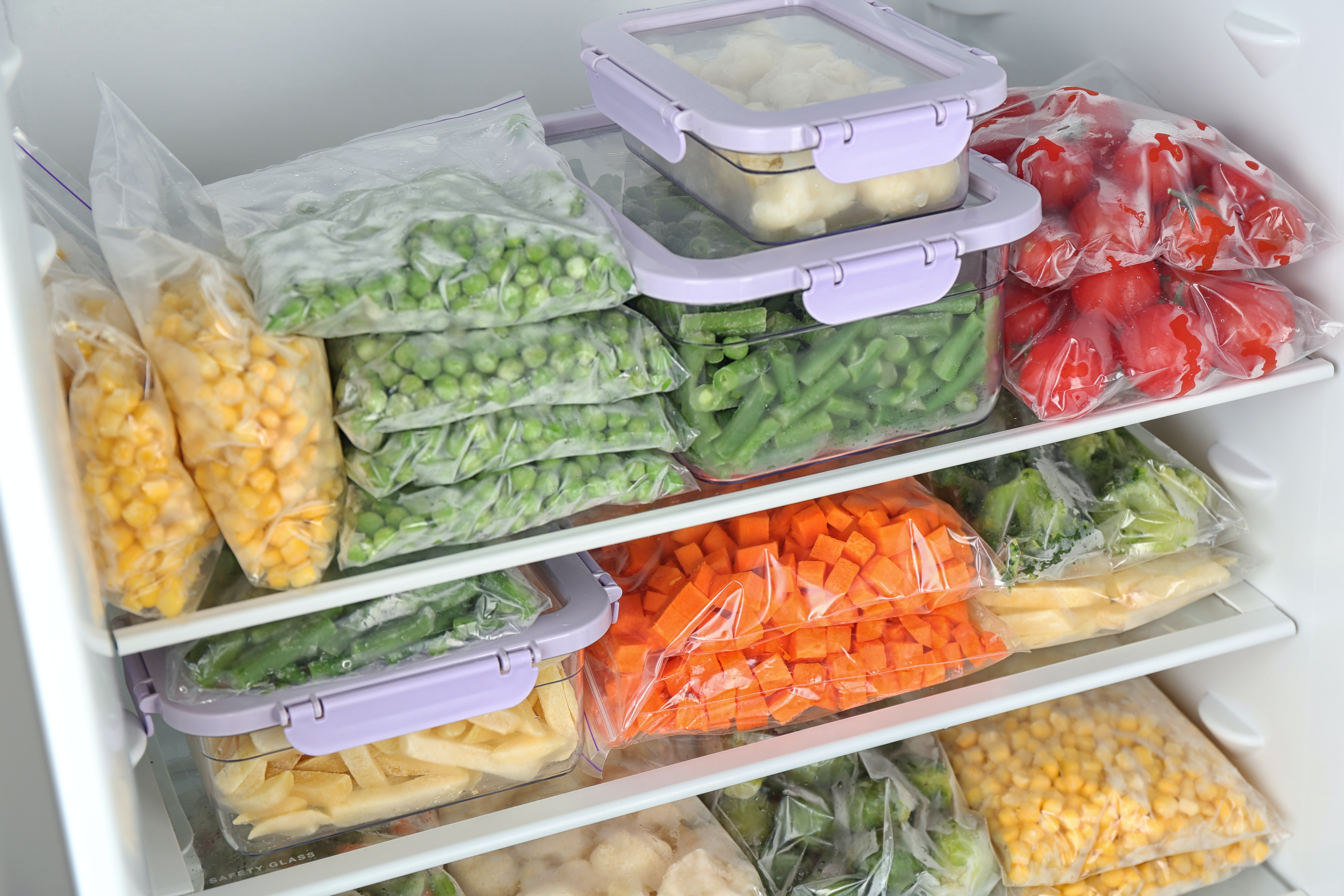 Close-up of food stored in a freezer.
