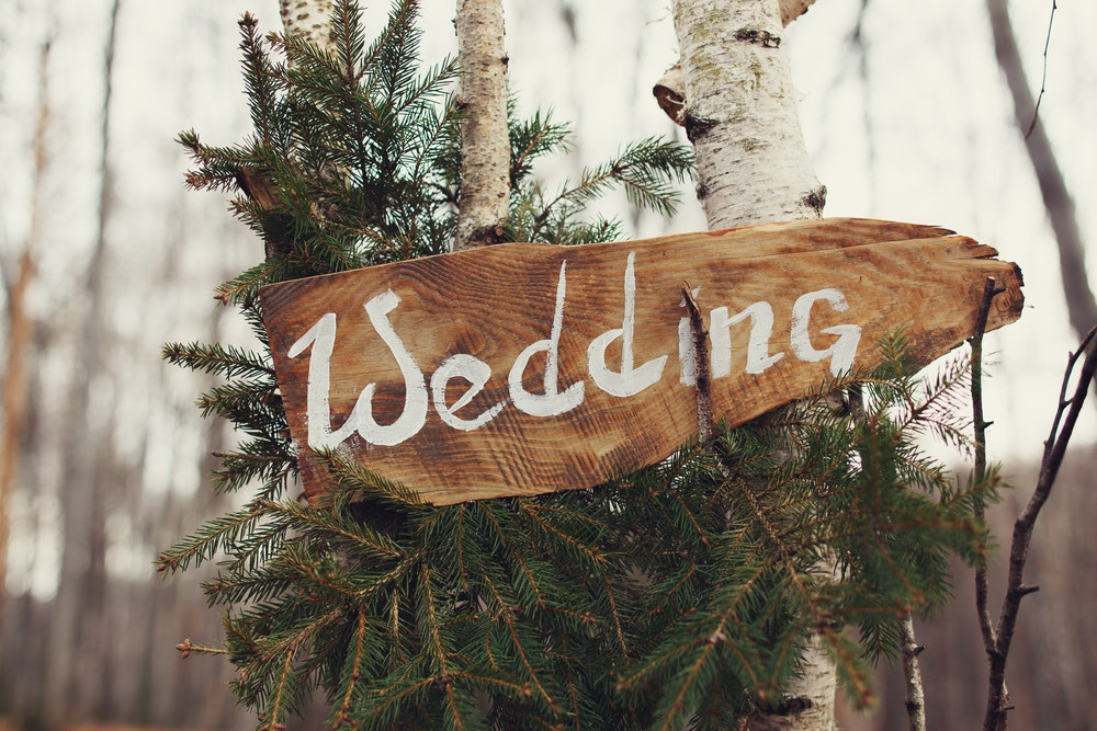 Wooden sign displaying the word 'wedding'