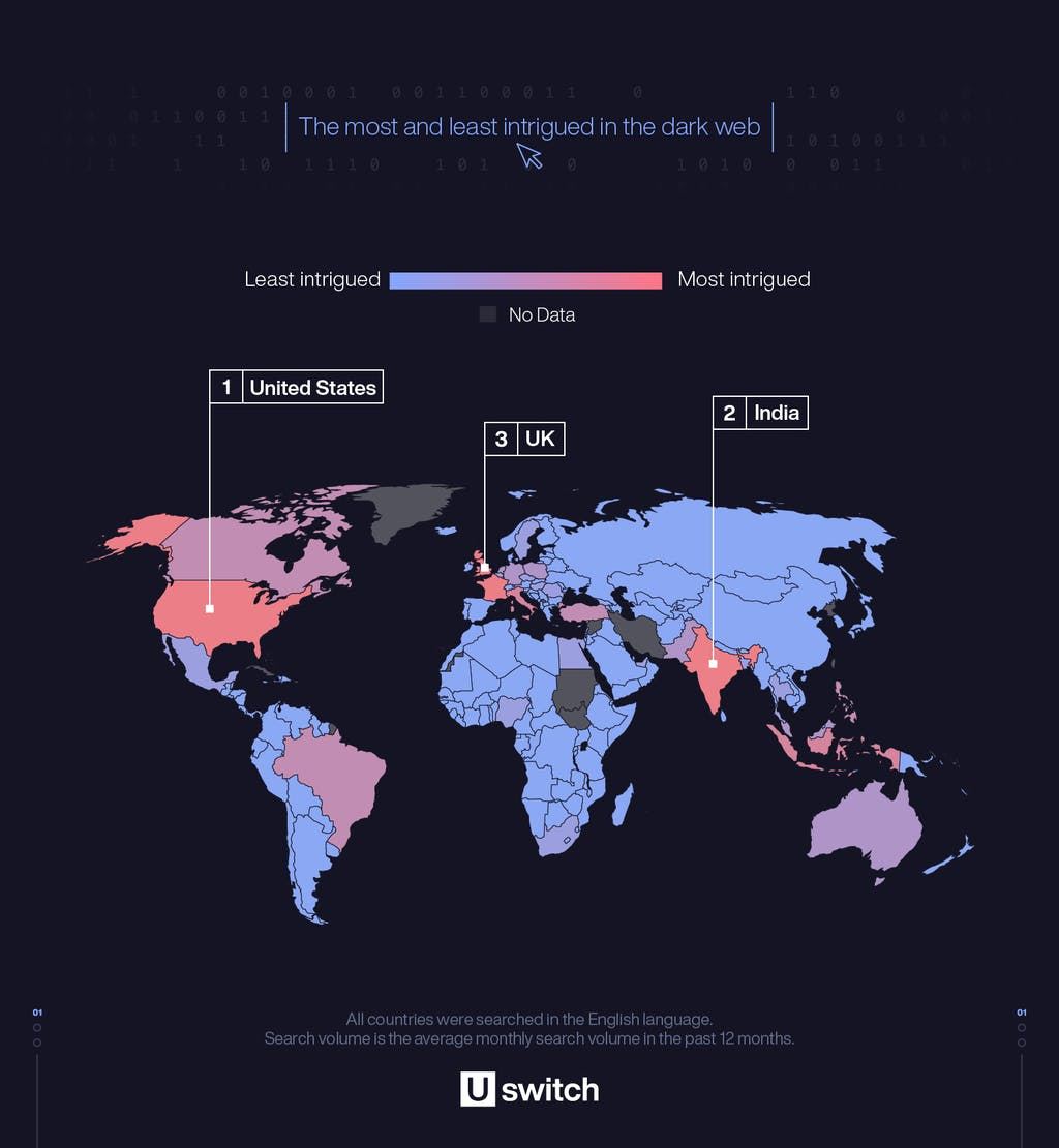 World map showing which countries search for dark web related terms the most