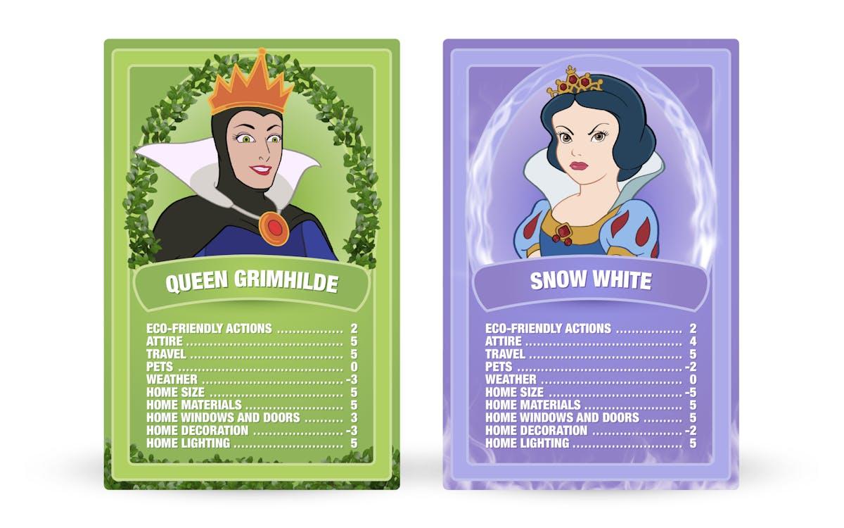 Snow White and the Seven Dwarfs: Queen Grimhilde vs. Snow White Top Trumps cards
