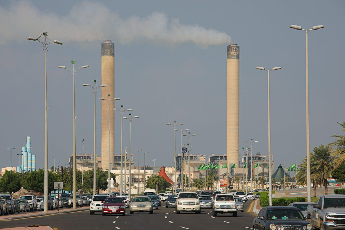 Traffic and pollution in Jeddah, Saudi Arabia.