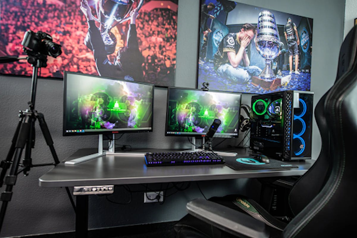 Competitive gaming set up with monitors and camera