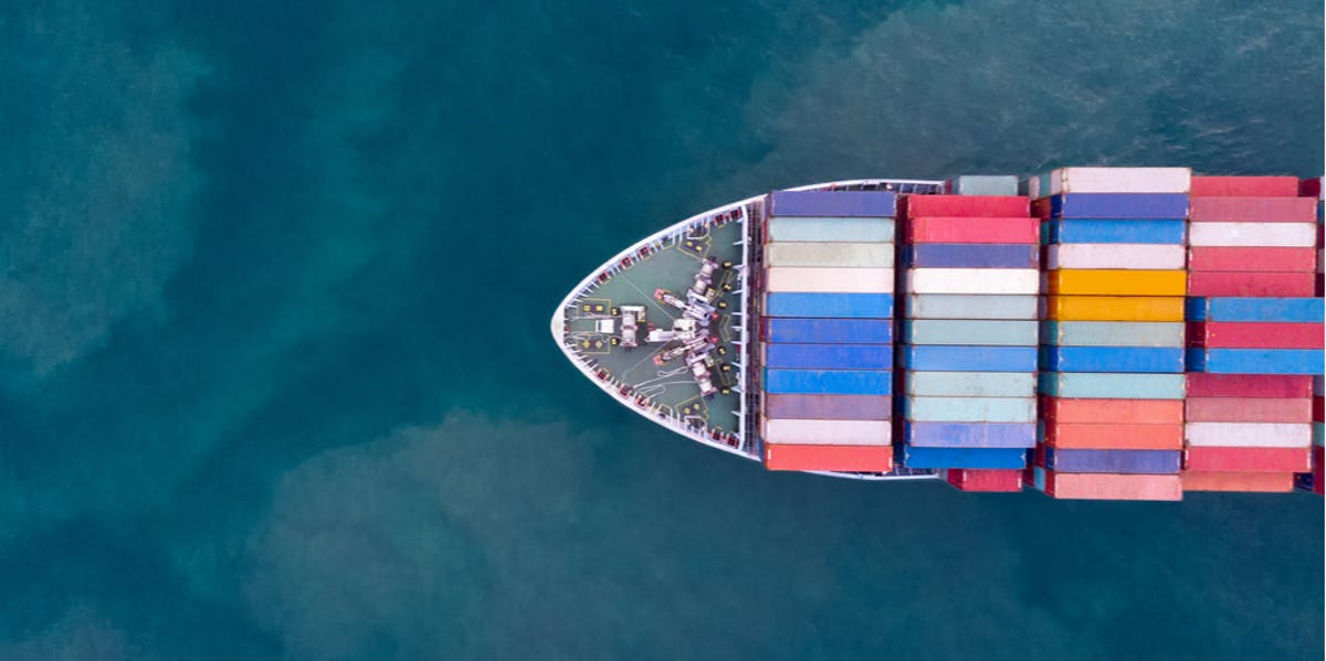 Ship loaded with shipping containers