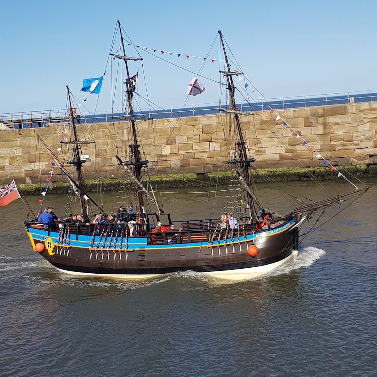 Boat sailing in Whitby.