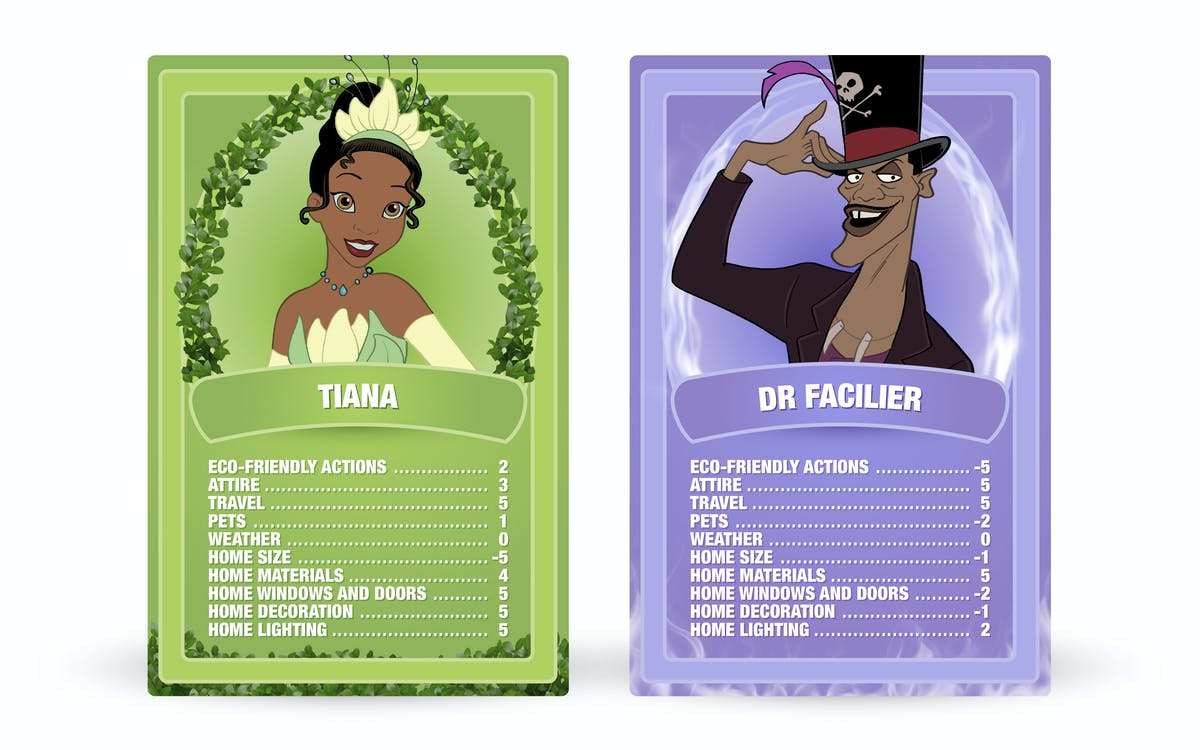 The Princess and the Frog: Tiana vs. Dr. Facilier Top Trumps cards