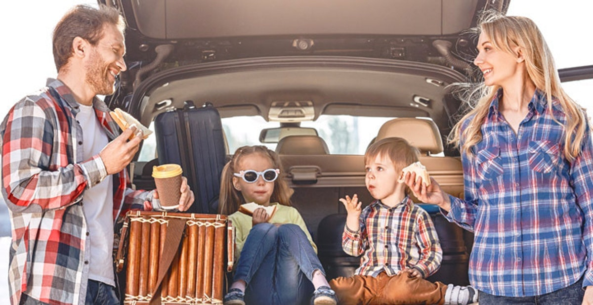 The Ultimate Road Trip Snacks - kids in boot