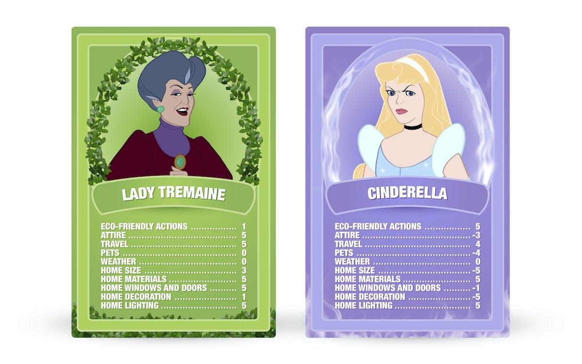 Cinderella: Lady Tremaine vs. Cinderella Top Trumps cards