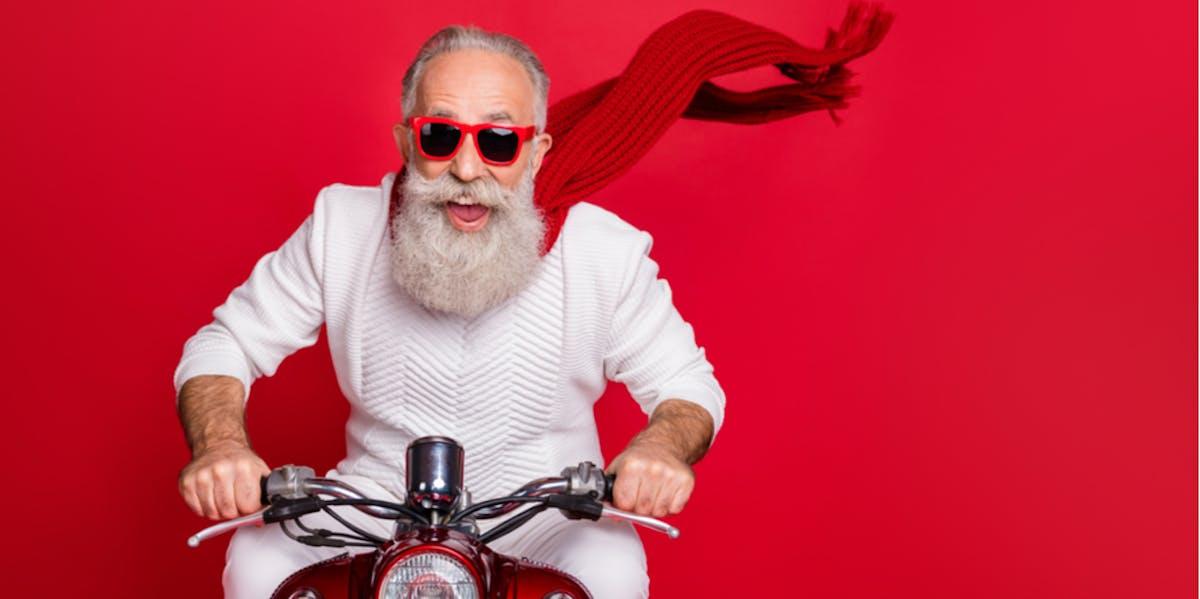 Older man riding a motorbike
