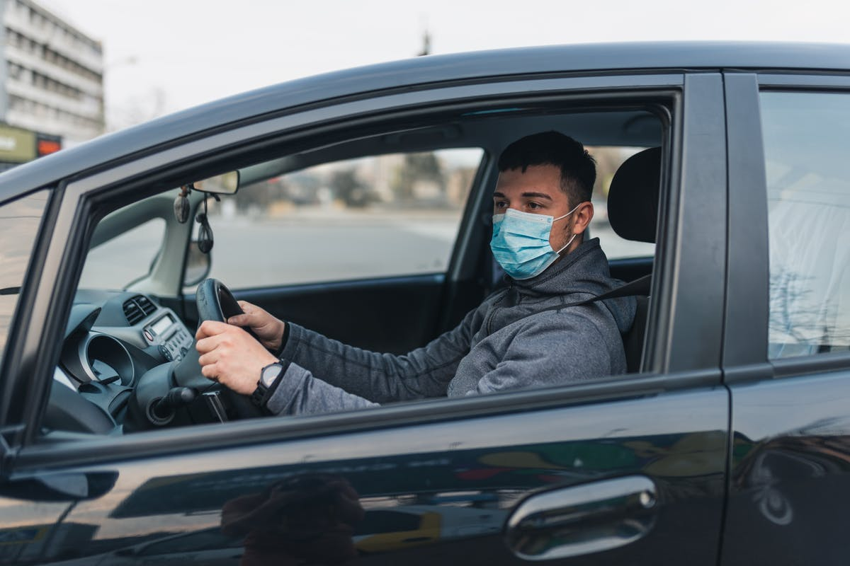 Driver with Covid mask