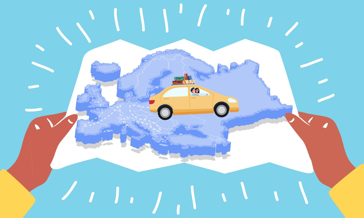 Map of EU with car
