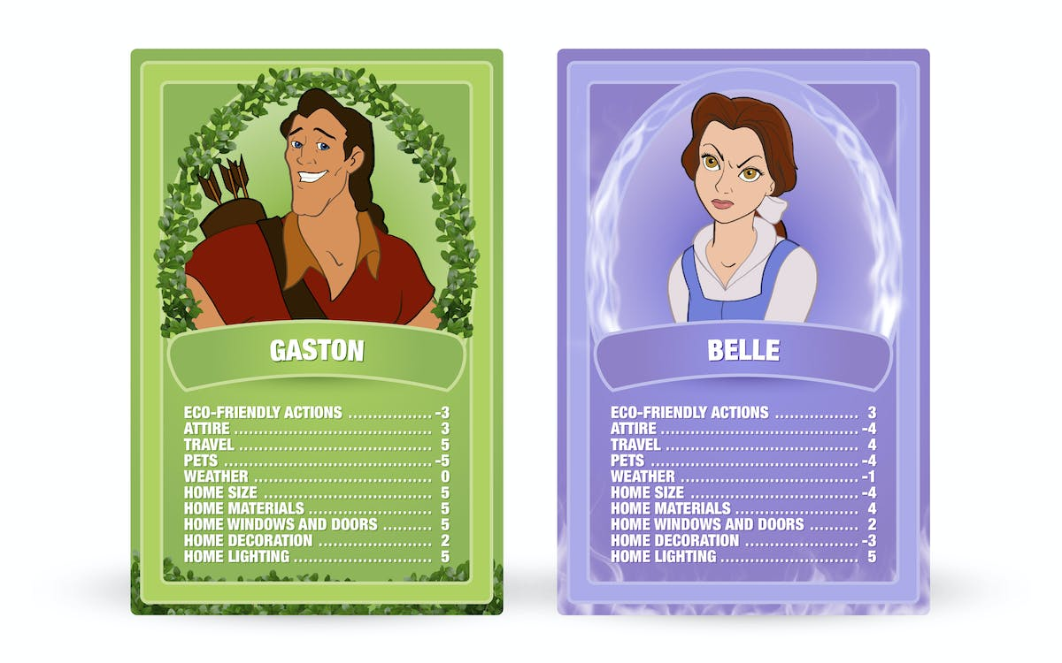 Beauty and the Beast: Gaston vs. Belle Top Trumps cards