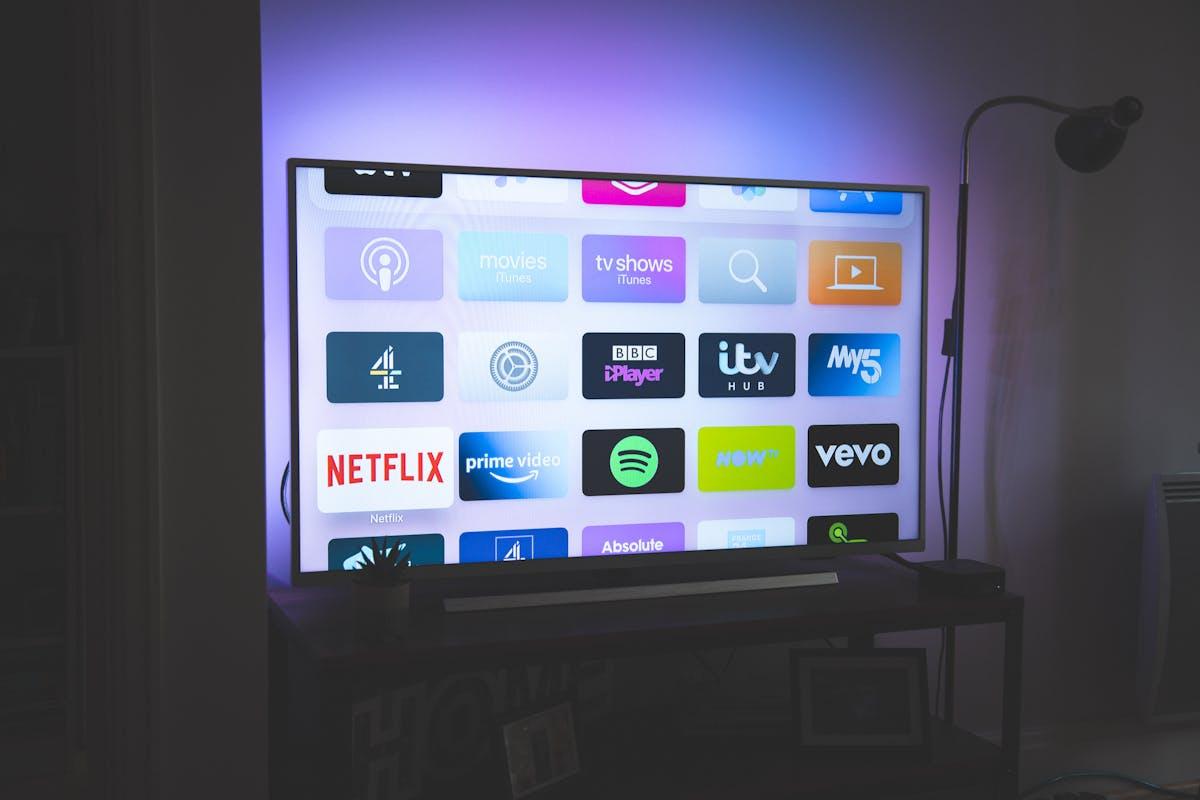 Screen showing streaming platform logos