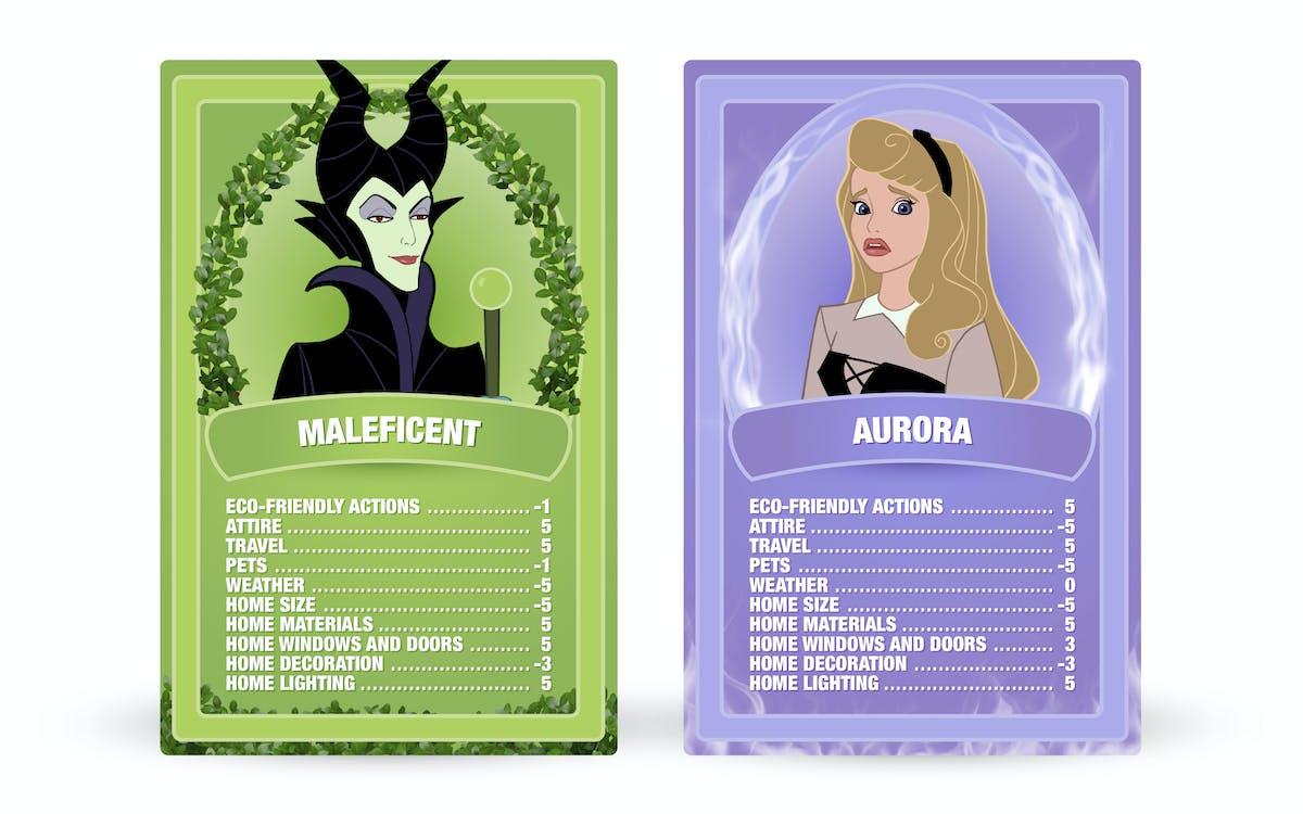 Sleeping Beauty: Maleficent vs. Aurora Top Trumps cards