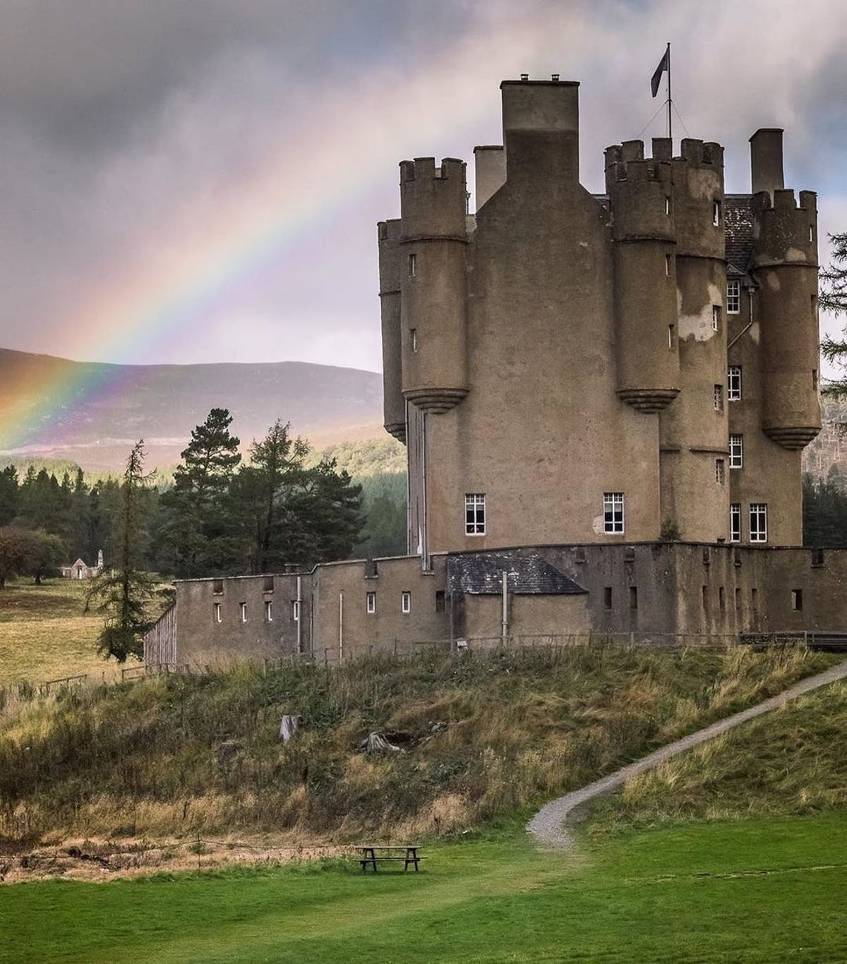 Castle and rainbow in the Cairgorns.