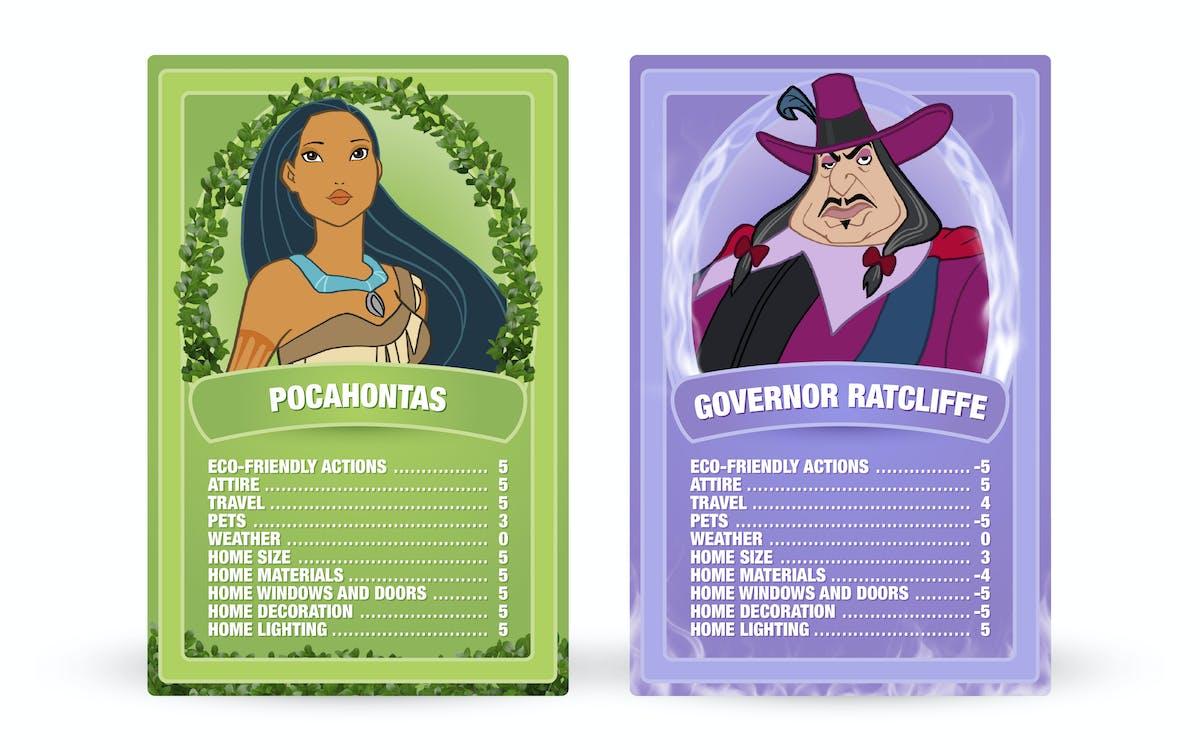 Pocahontas: Pocahontas vs. Governor Ratcliffe Top Trumps cards