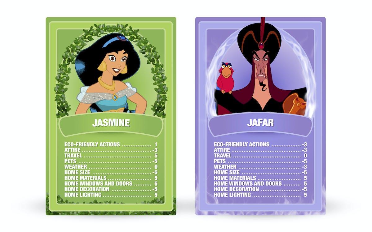 Aladdin: Jasmin vs. Jafar Top Trumps cards