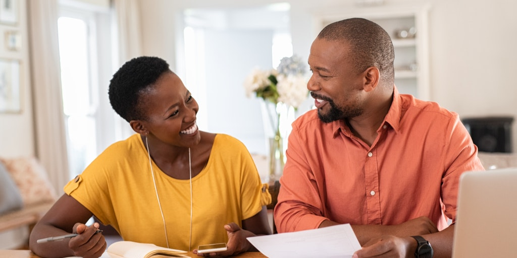 Black couple managing finances