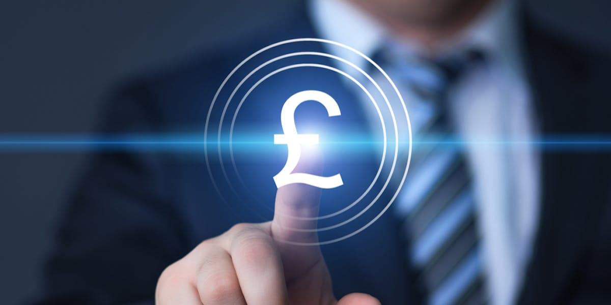 businessman pressing pound button on virtual screens