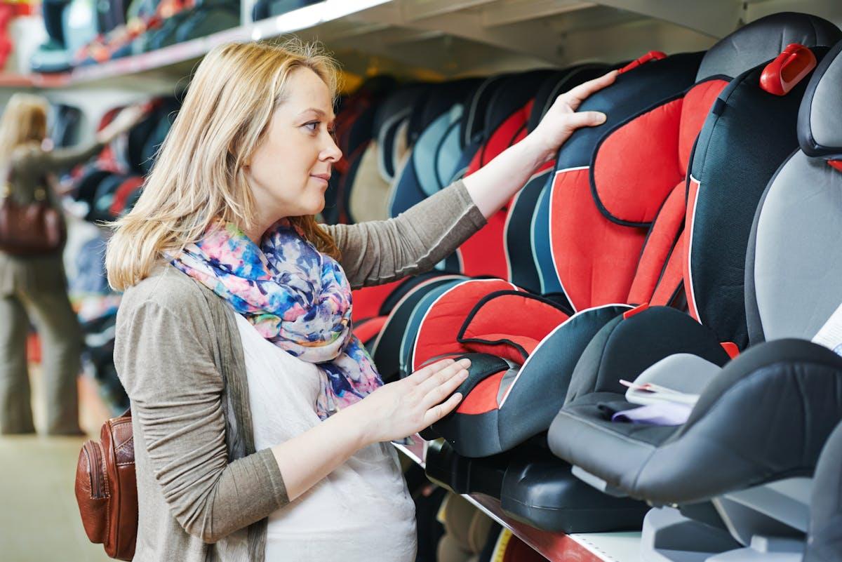 Woman looking at car seats
