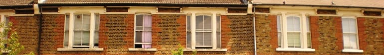Home insurance, terraced houses row of windows
