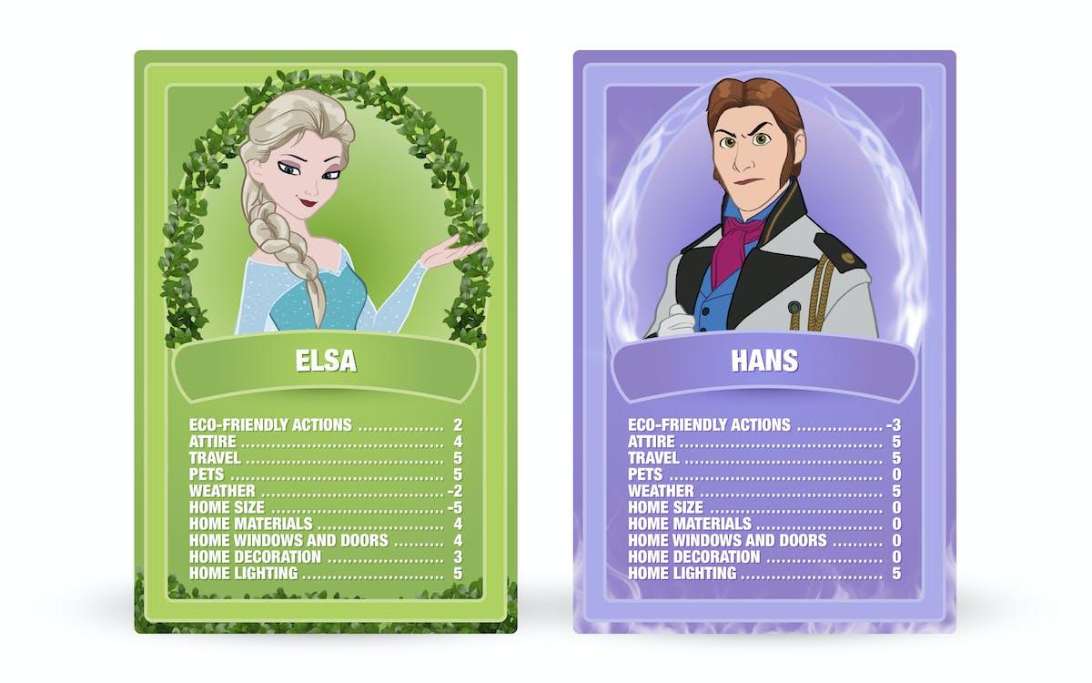 Frozen: Elsa vs. Hans Top Trumps cards