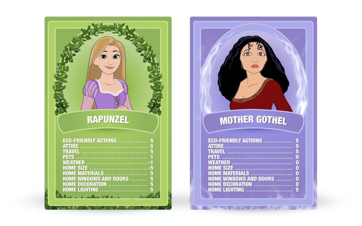 Tangled: Rapunzel vs. Mother Gothel Top Trumps cards