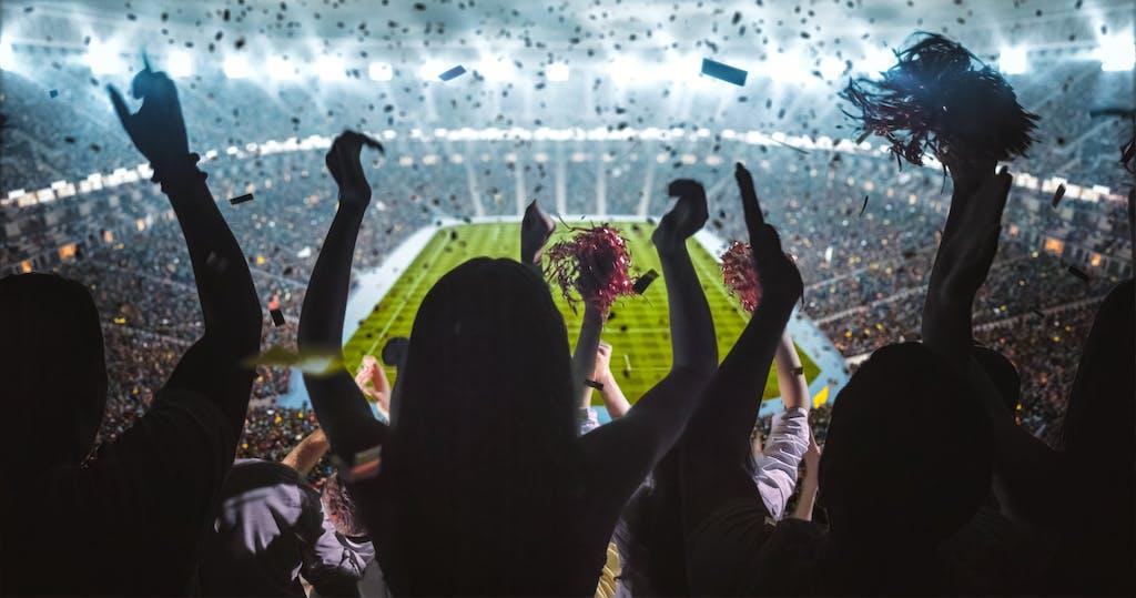Crowd cheering at sports stadium sports game
