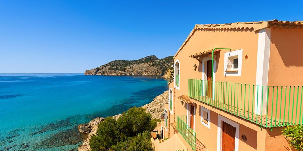 Apartment house view bay beach mountains, Camp de Mar, Majorca island, Spain