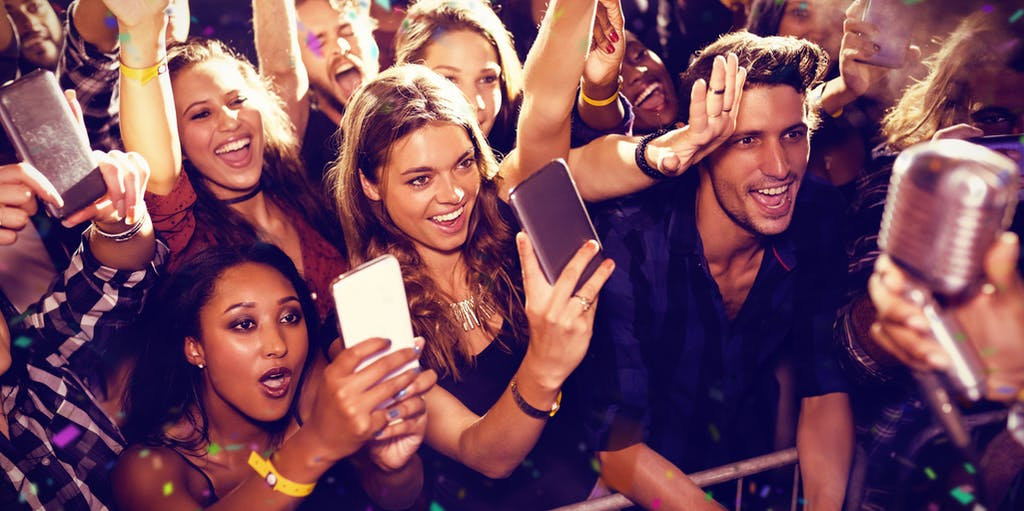 Fans at music gig