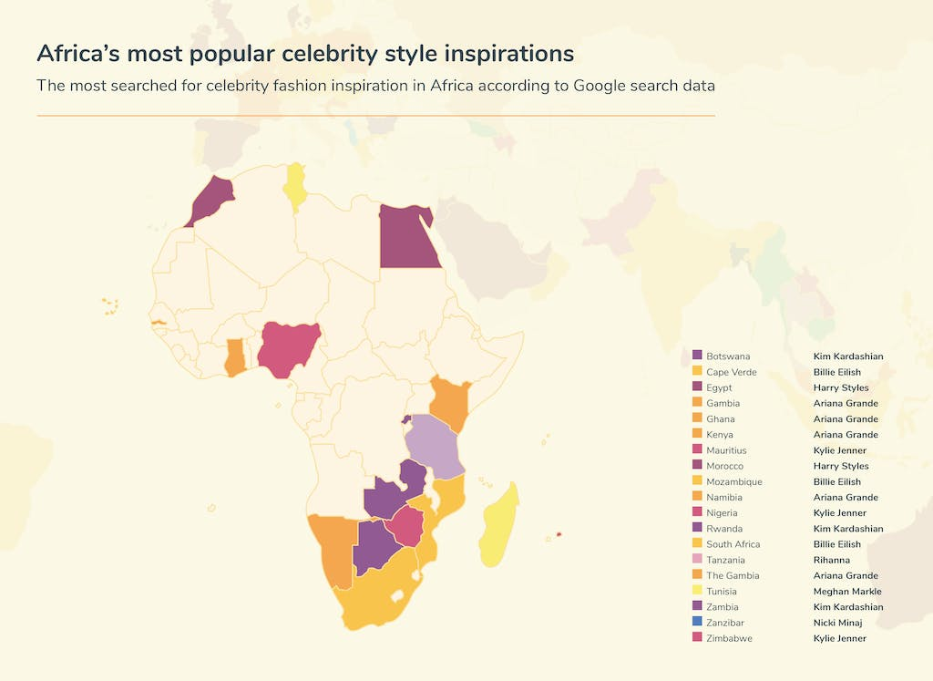 Map of Africa - celebrity inspiration searches