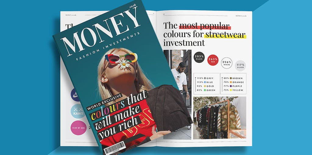 A photo of a magazine which reads: money.co.uk fashion investments