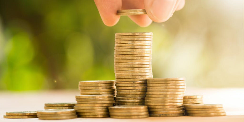 Stacks of coins representing savings