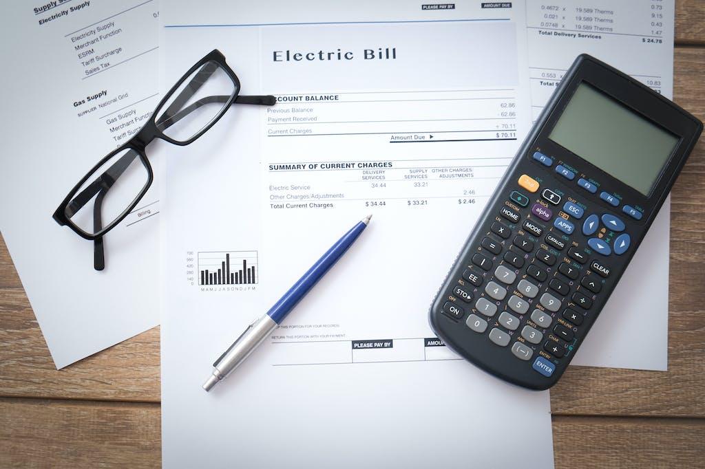 Energy bills on table