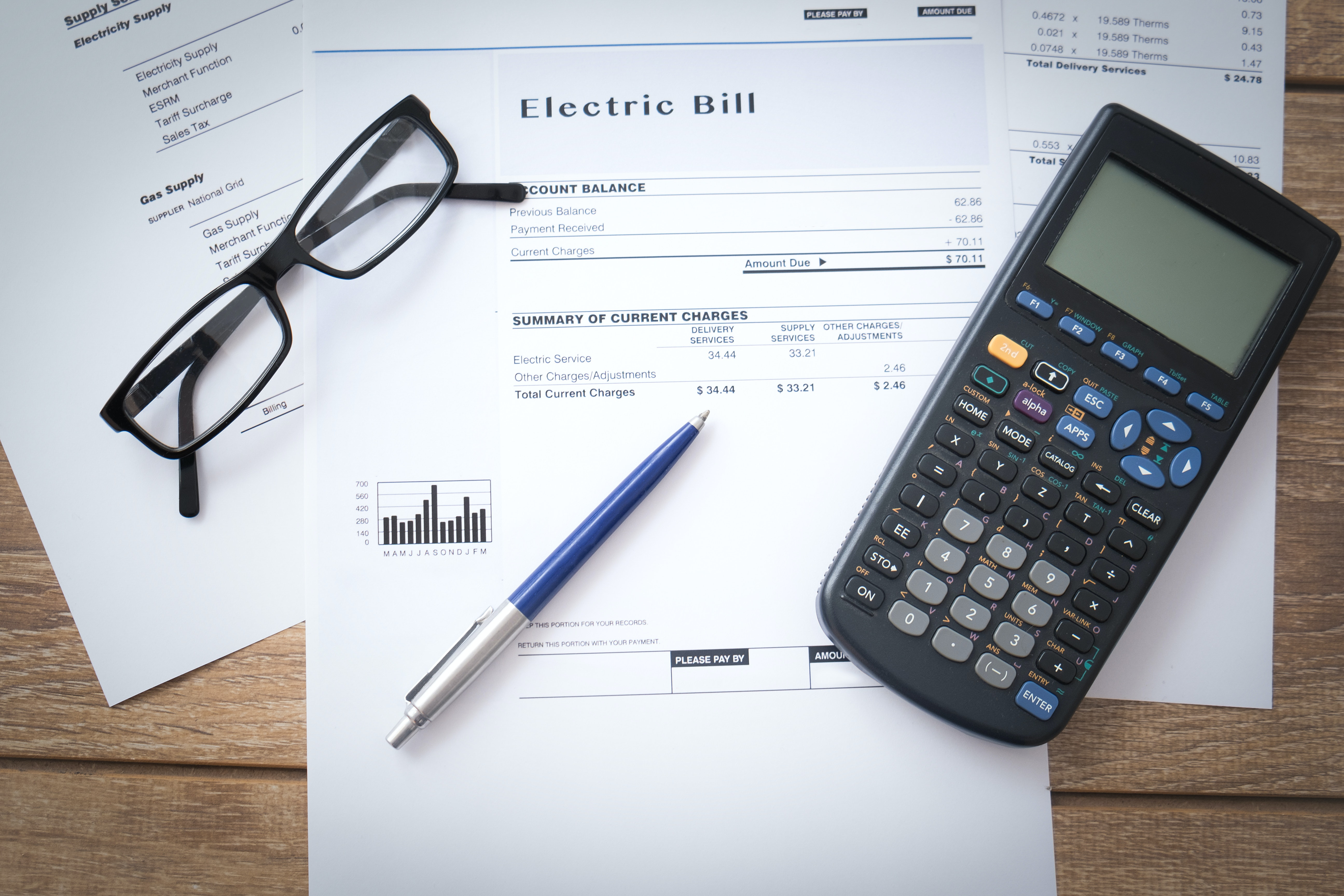 Energy bills on table
