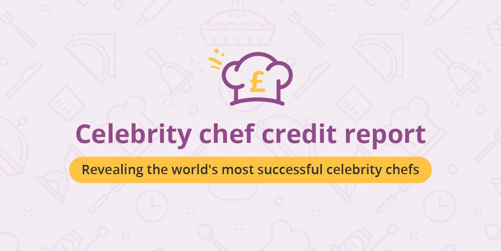 A graphic which reads: Celebrity Chef Credit Report, Revealing the world's most successful celebrity chefs