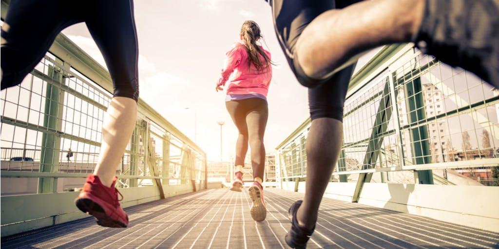 A photo of women running.