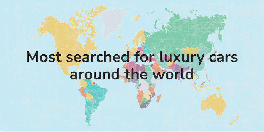 A graphic which reads: Most searched for luxury cars around the world.