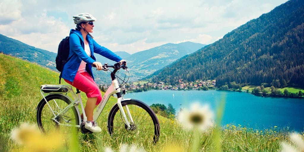 Woman on an electric bike in the countryside