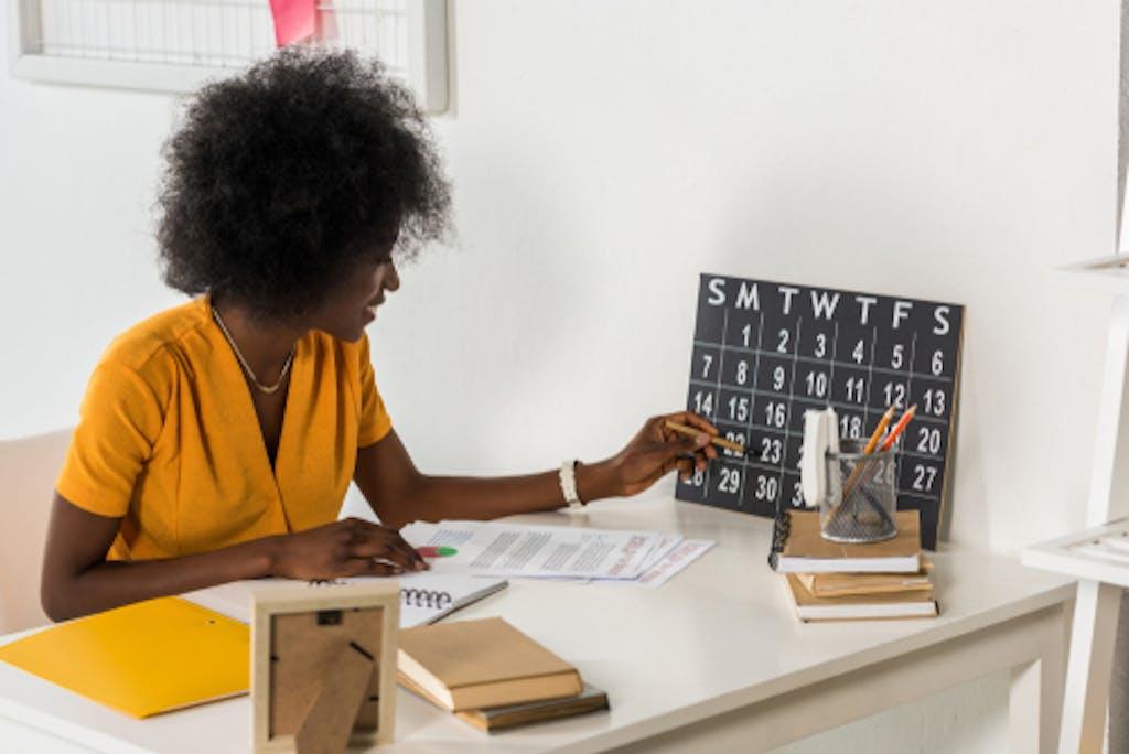 Woman checking calendar
