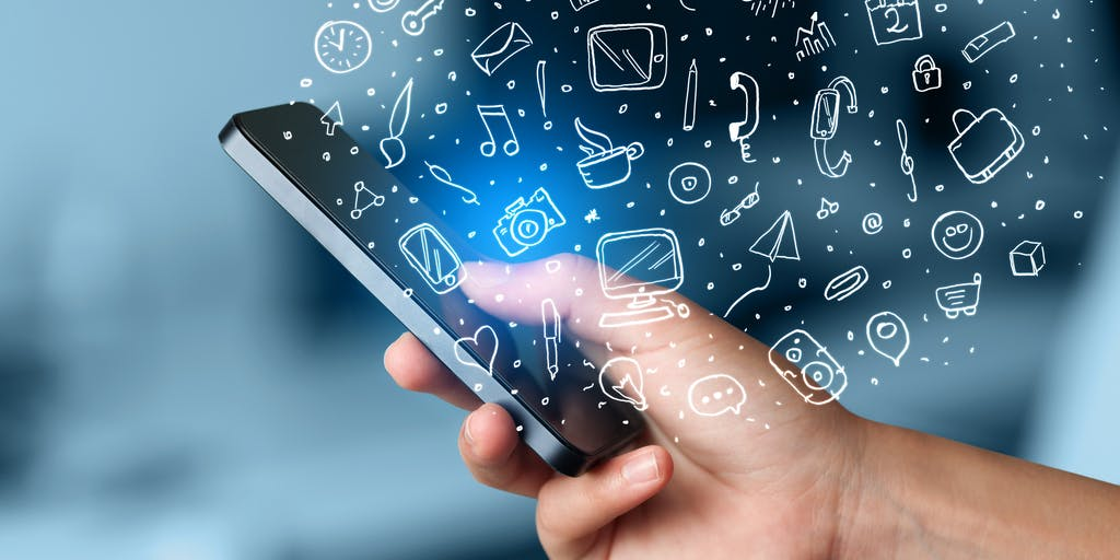 Image of man holding phone with apps pouring out