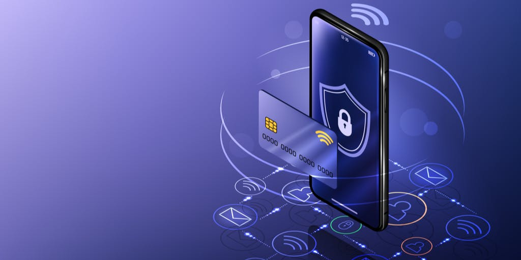 image of mobile phone with security animation and credit card