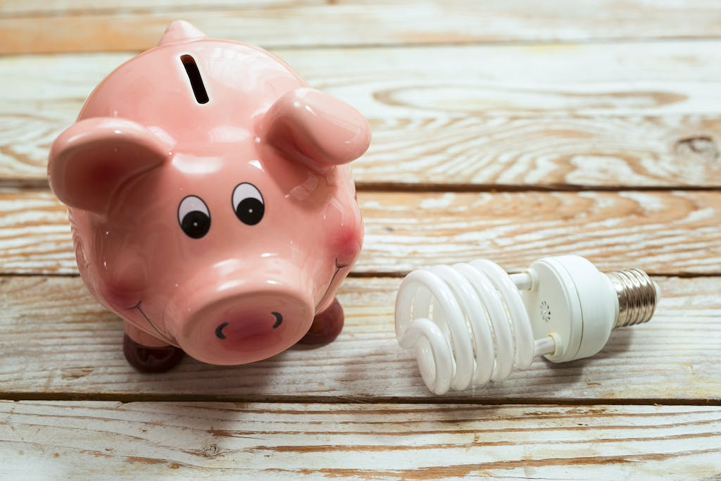 Piggy bank with lightbulb, showing that saving energy saves money