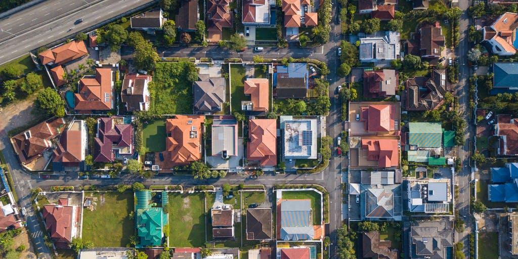 Bird eye view of houses